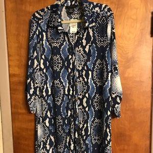 Ashley Stewart Snake Skin Shirt Dress Size 18/20